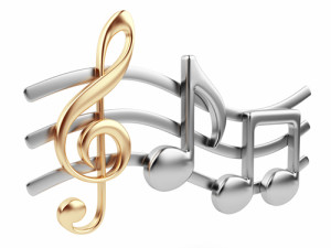 Metallic music note 3D. Music composition. Isolated on white bac